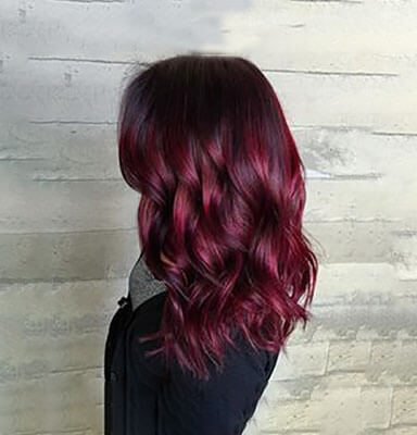 Burgundy Hair Colour Wedding Hairstyle